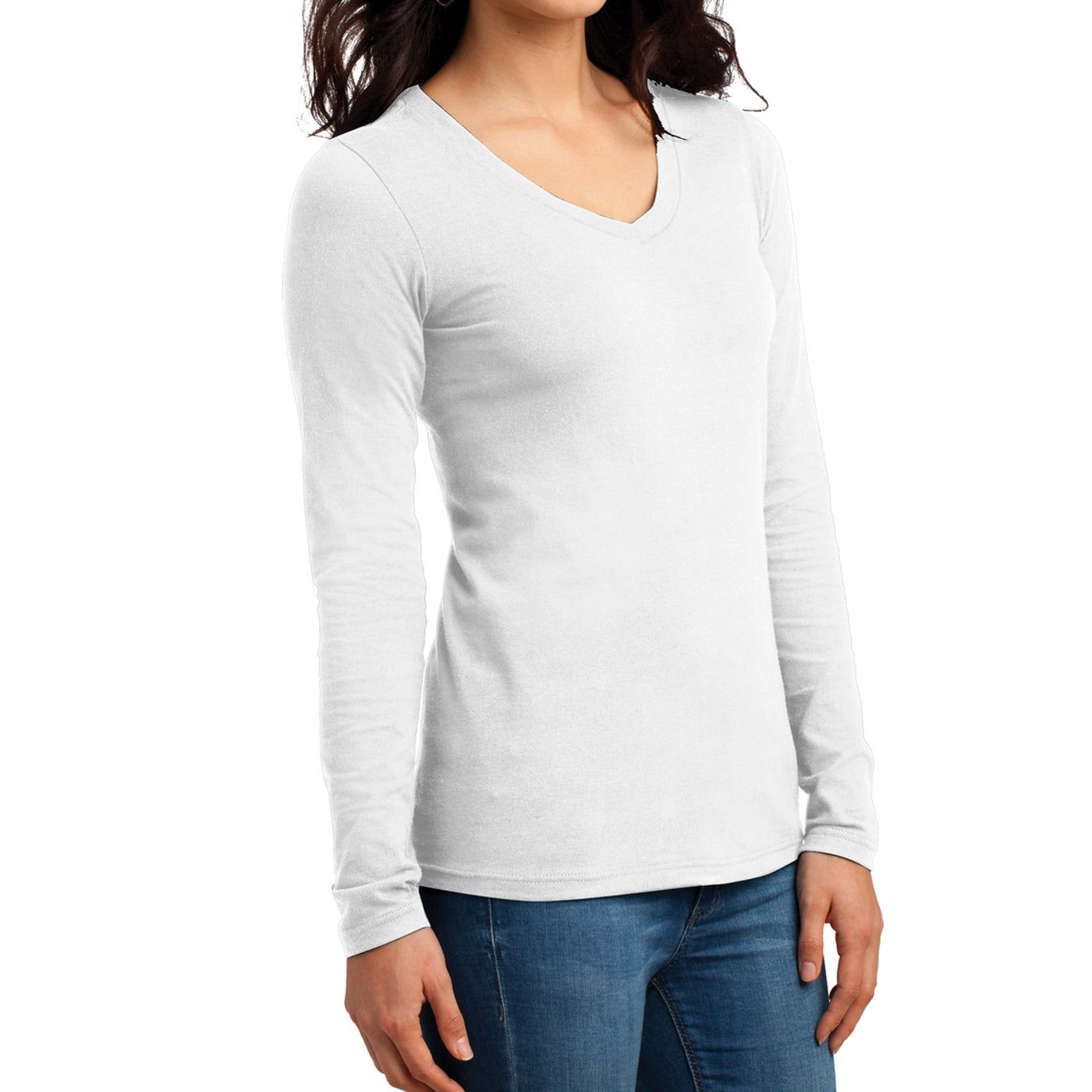 Women's Juniors The Concert Tee Long Sleeve V-Neck - White