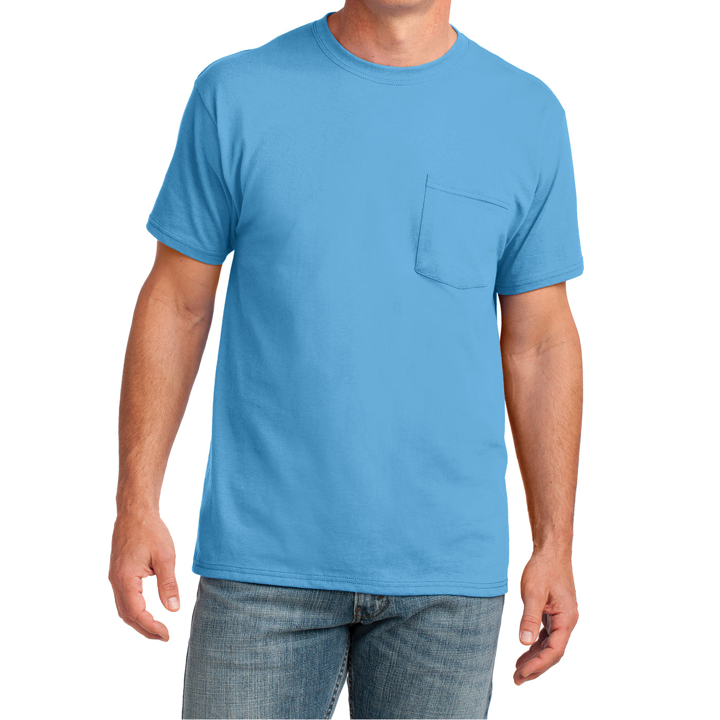 Men's Core Cotton Pocket Tee - Aquatic Blue - Front