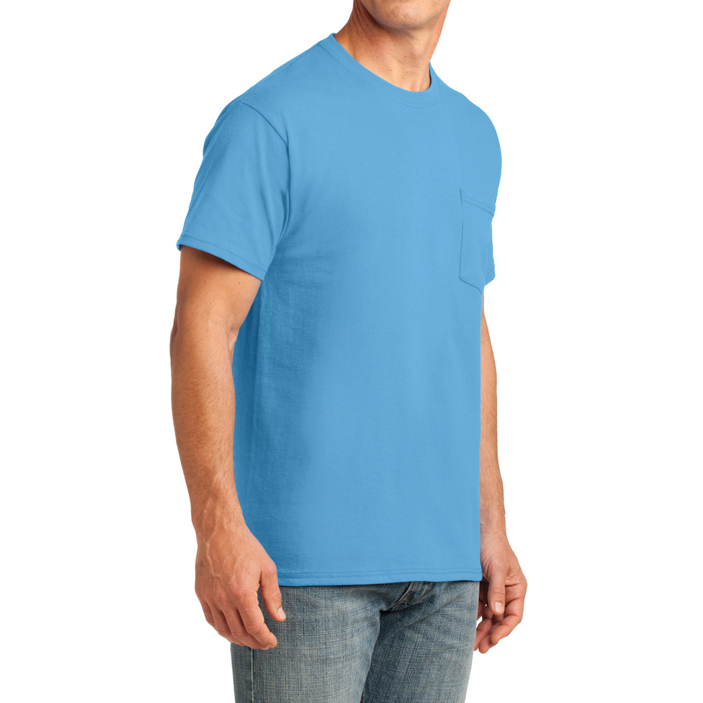 Men's Core Cotton Pocket Tee - Aquatic Blue - Side