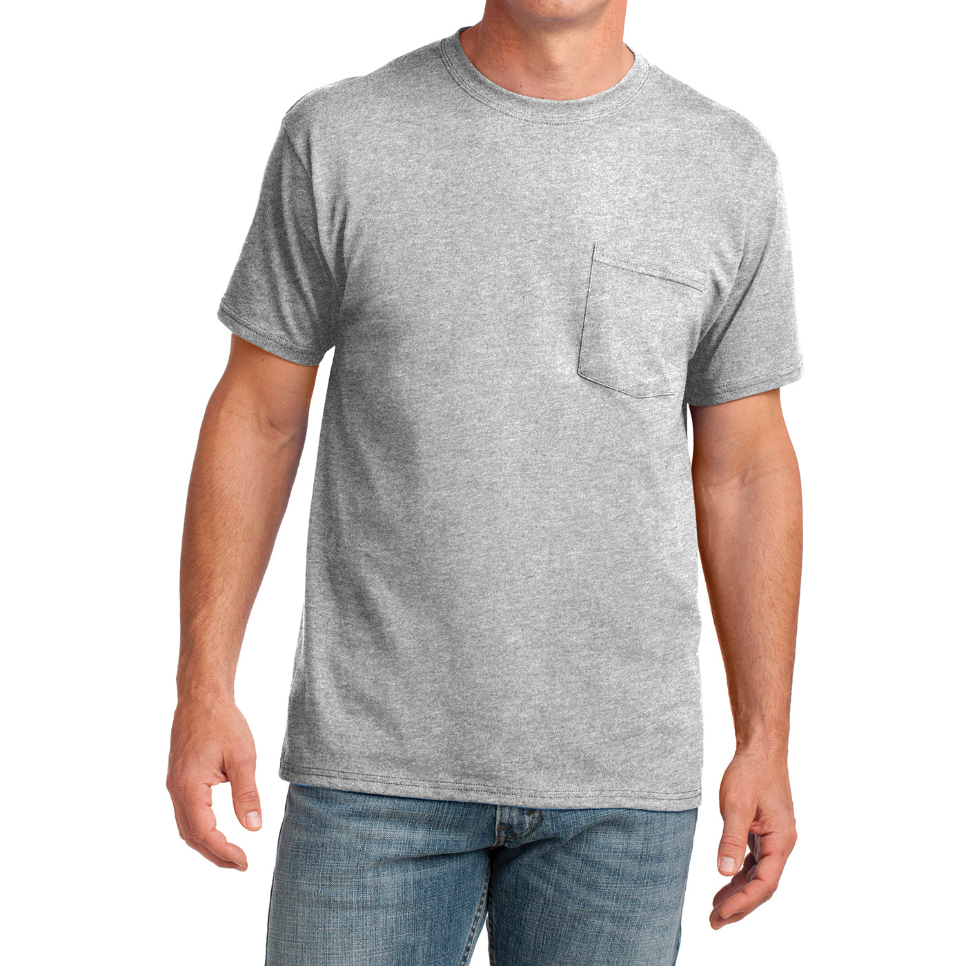 Men's Core Cotton Pocket Tee - Ash - Front