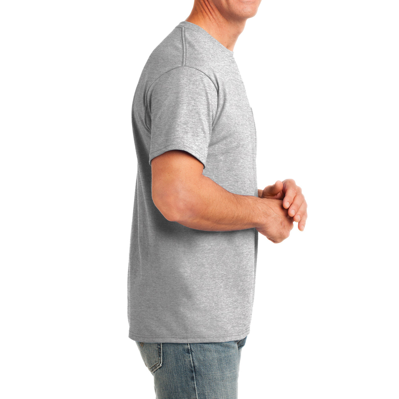 Men's Core Cotton Pocket Tee - Ash - Side