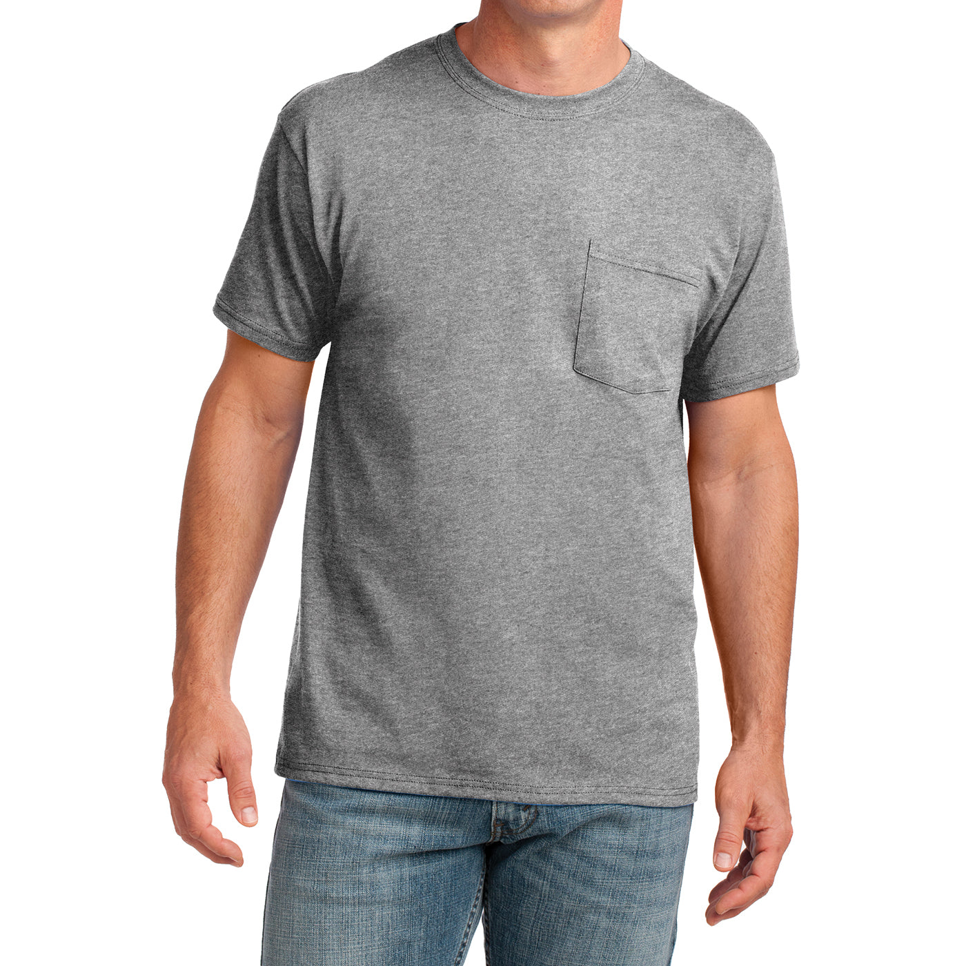 Men's Core Cotton Pocket Tee - Athletic Heather - Front