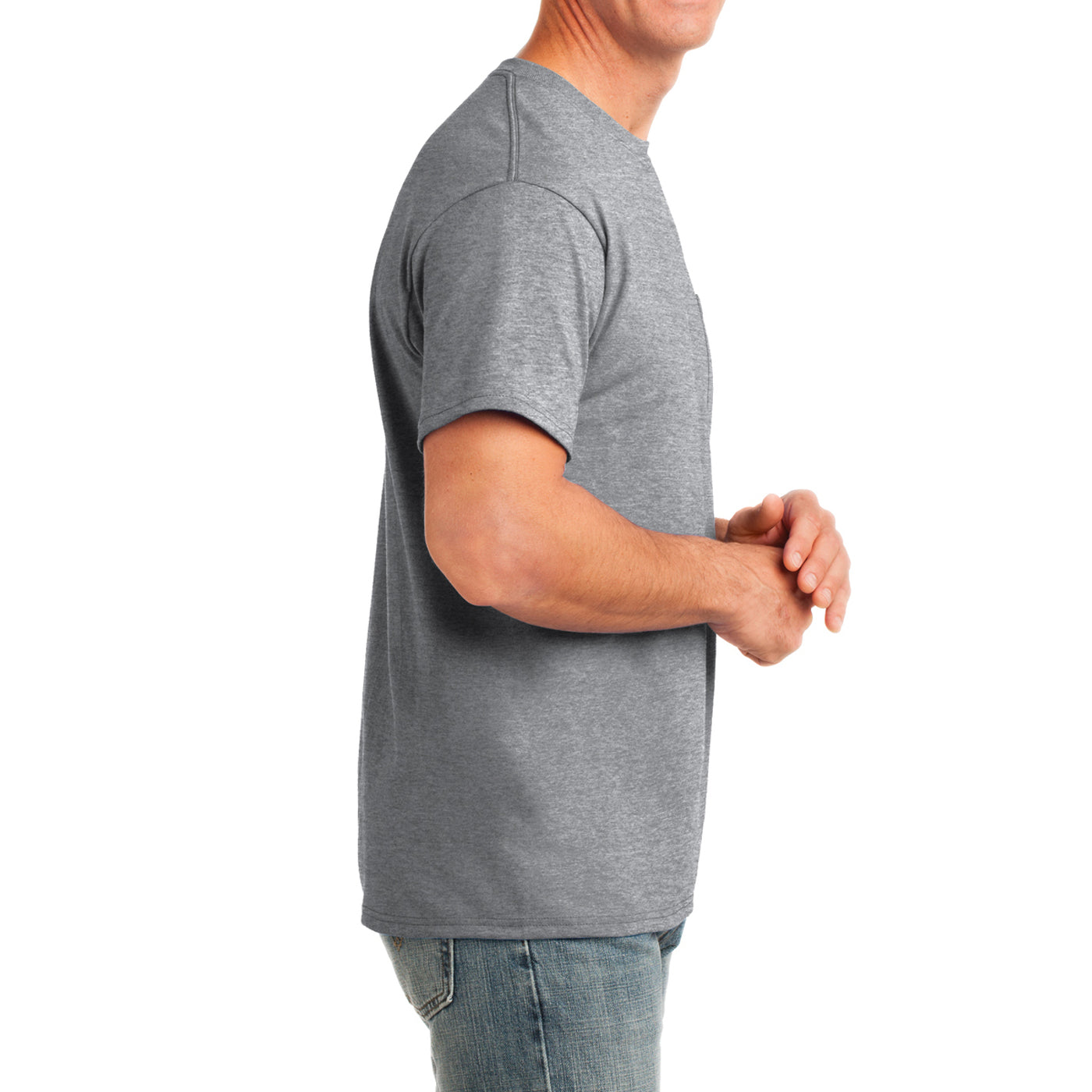 Men's Core Cotton Pocket Tee - Athletic Heather - Side