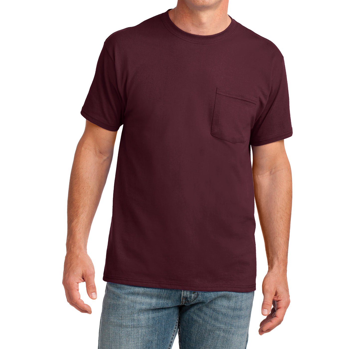 Men's Core Cotton Pocket Tee - Athletic Maroon - Front