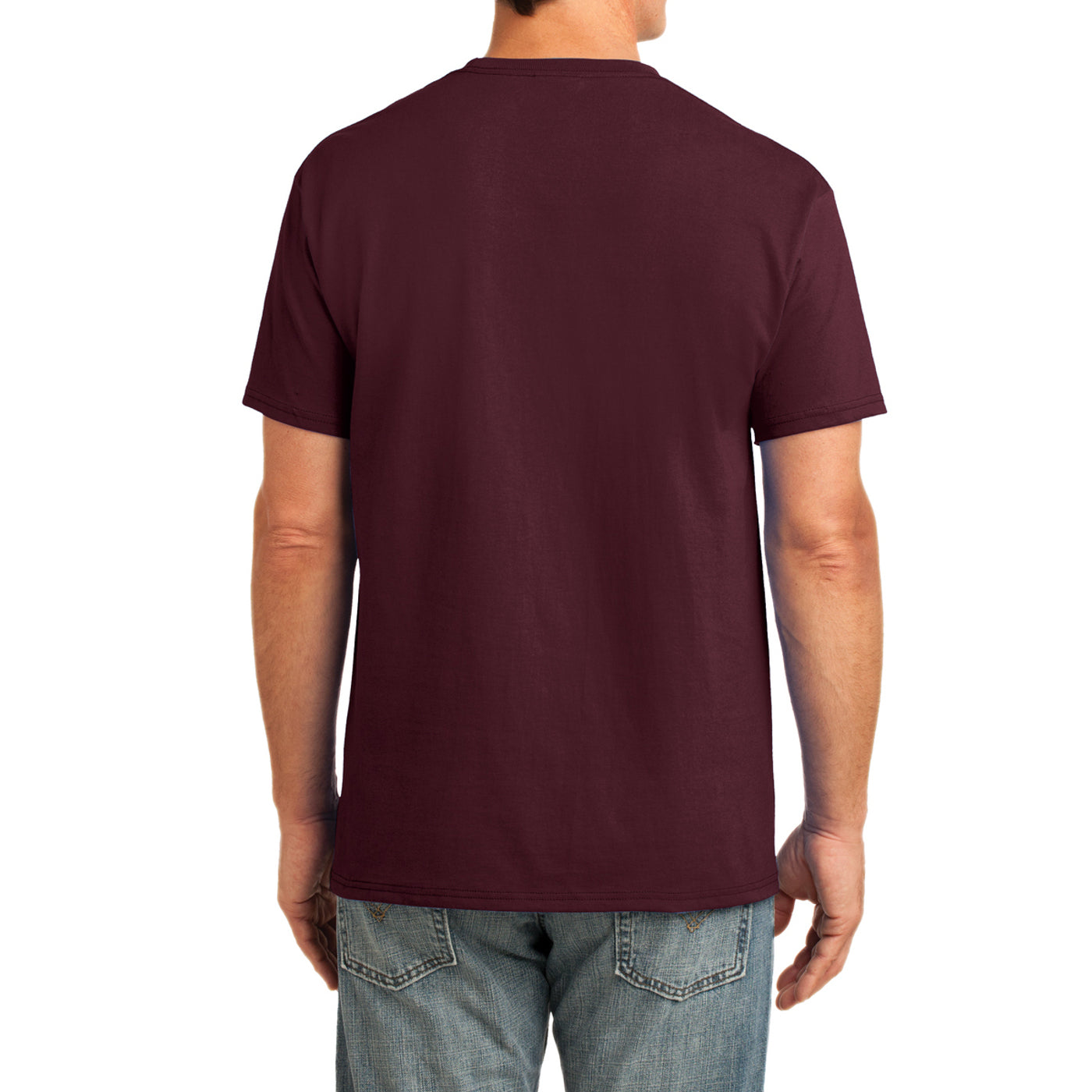Men's Core Cotton Pocket Tee - Athletic Maroon - Back