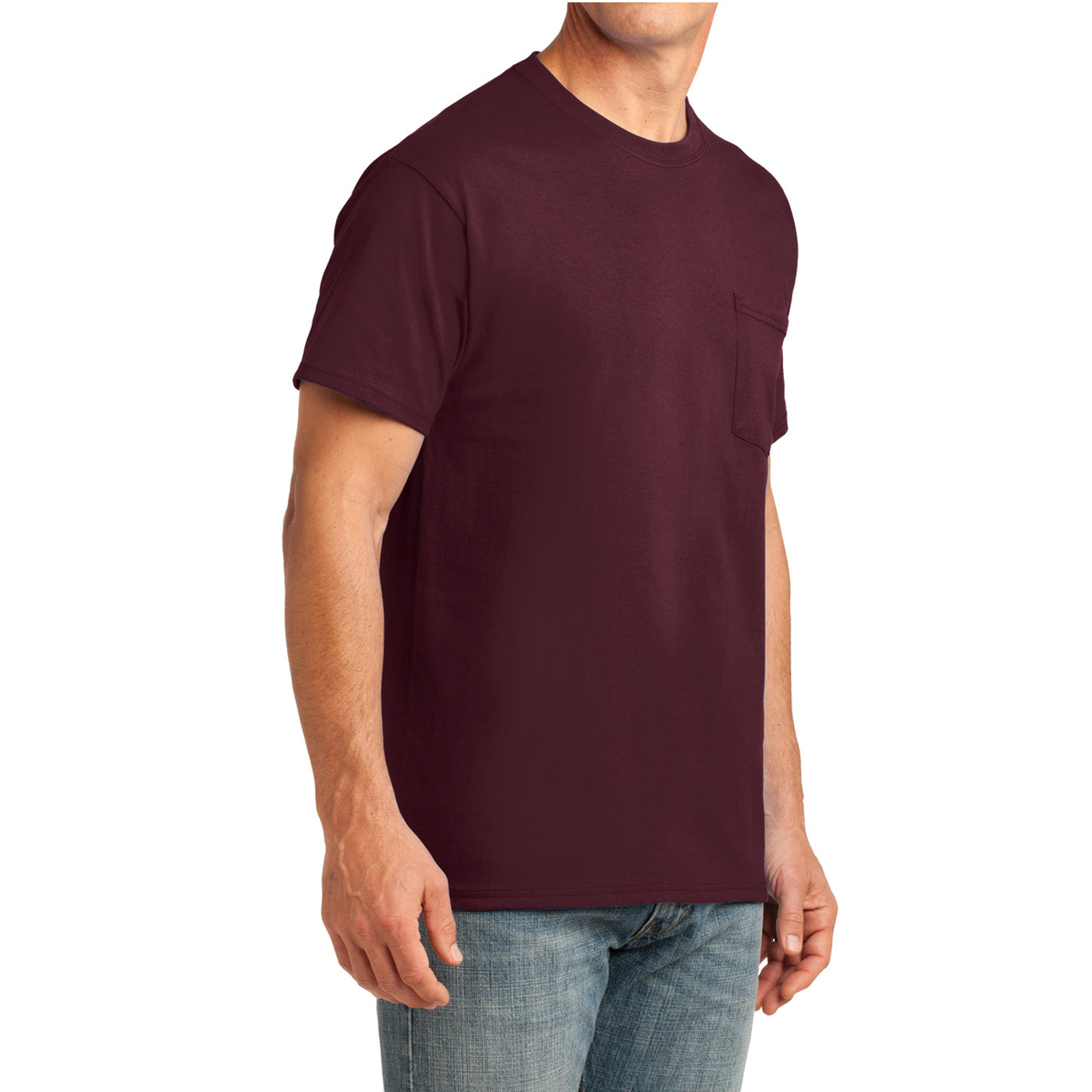 Men's Core Cotton Pocket Tee - Athletic Maroon - Side
