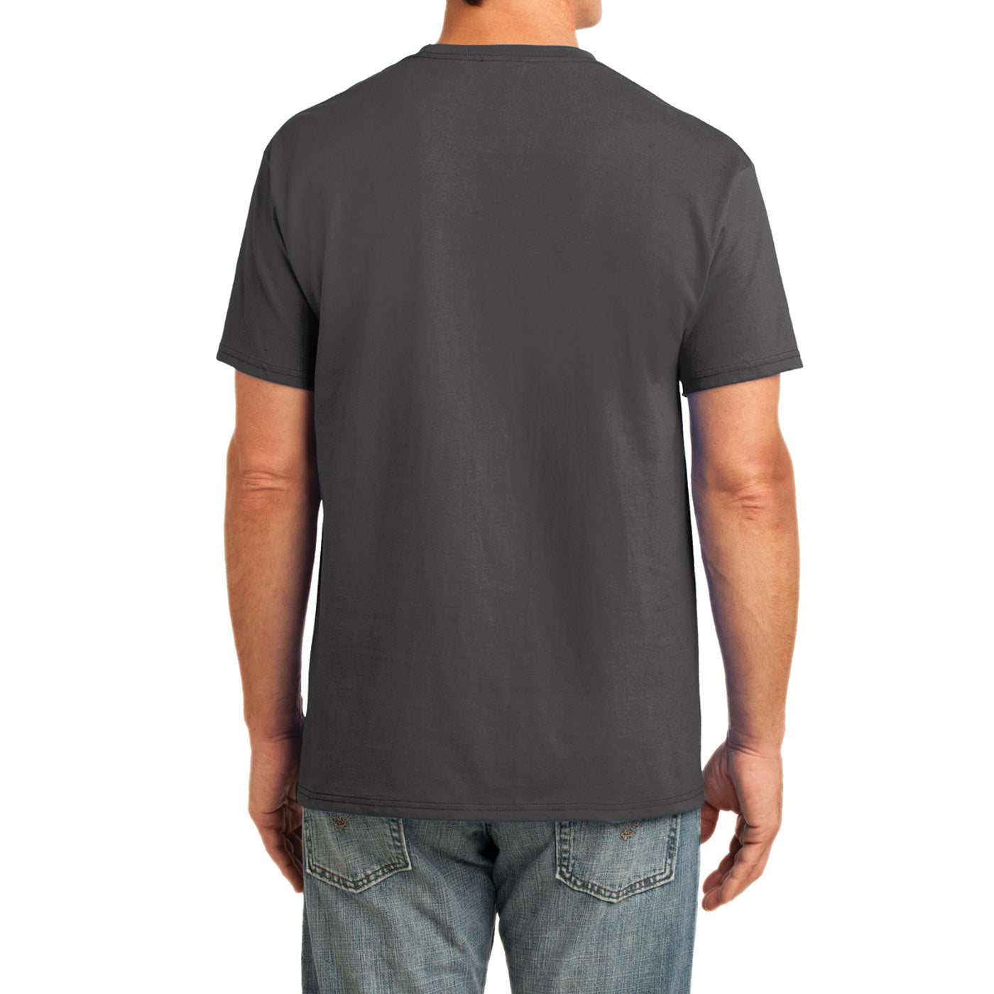 Men's Core Cotton Pocket Tee - Charcoal - Back