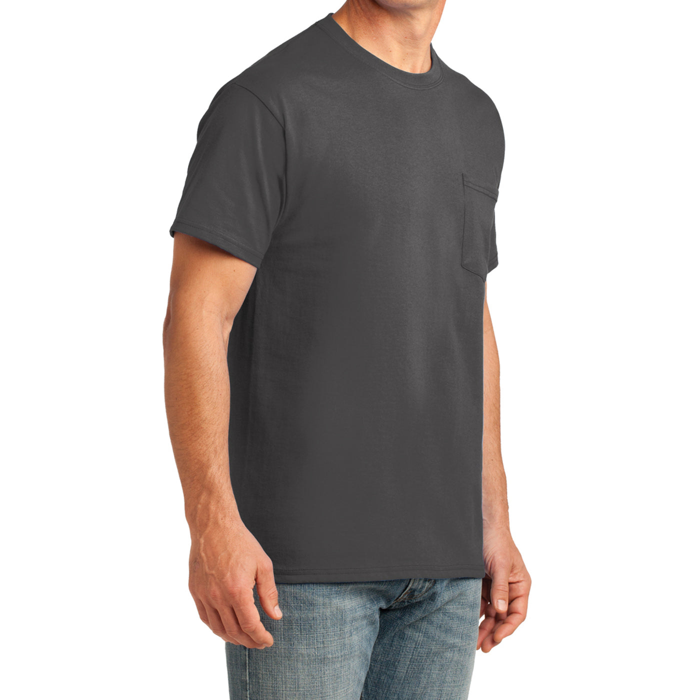 Men's Core Cotton Pocket Tee - Charcoal - Side