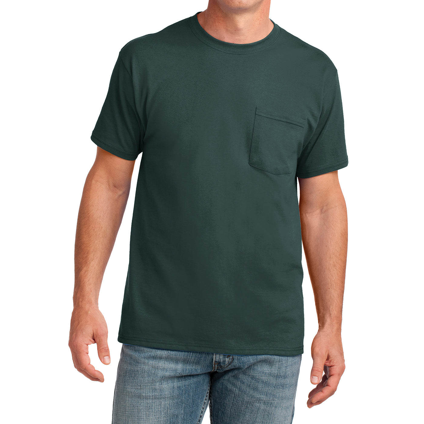 Men's Core Cotton Pocket Tee - Dark Green - Front