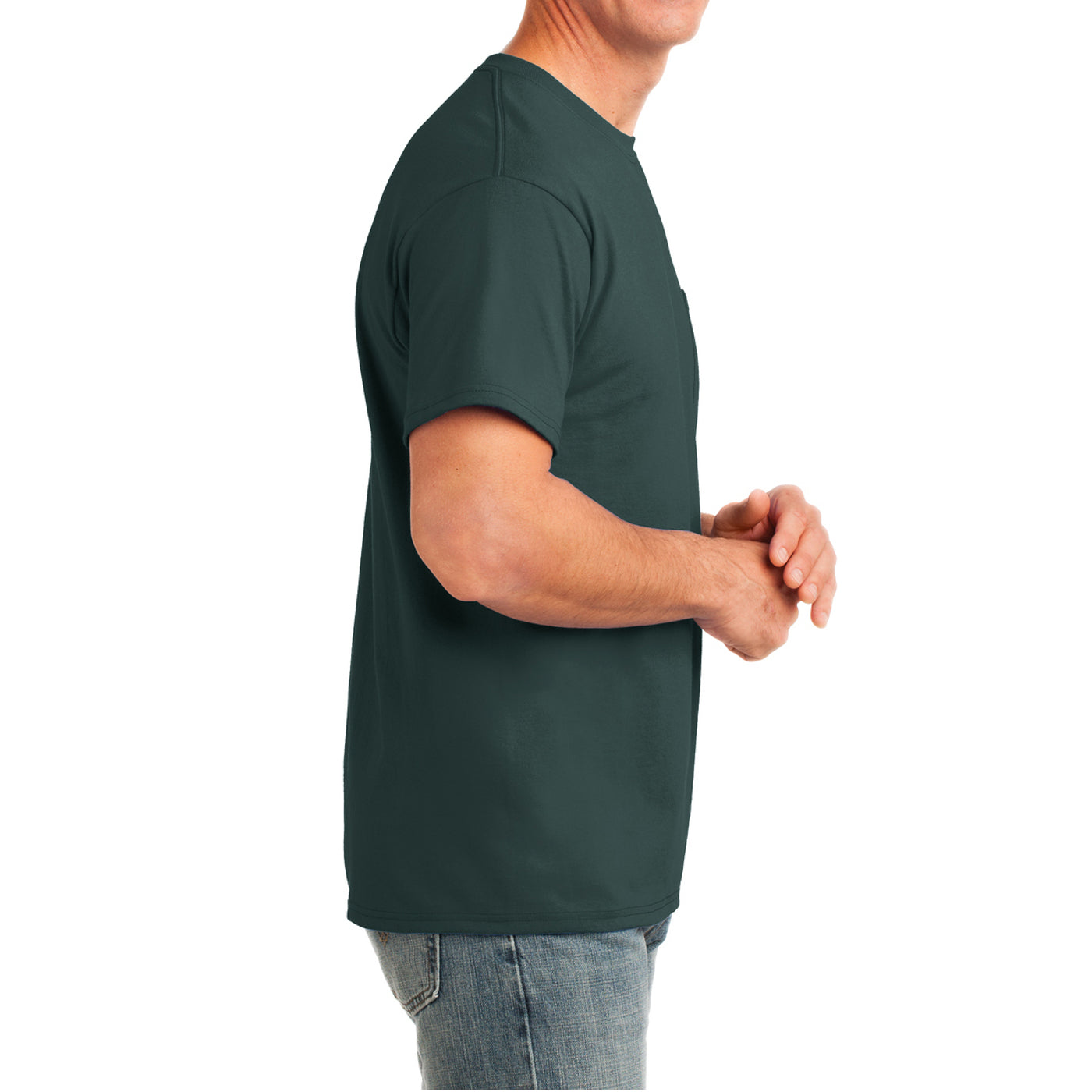 Men's Core Cotton Pocket Tee - Dark Green - Side