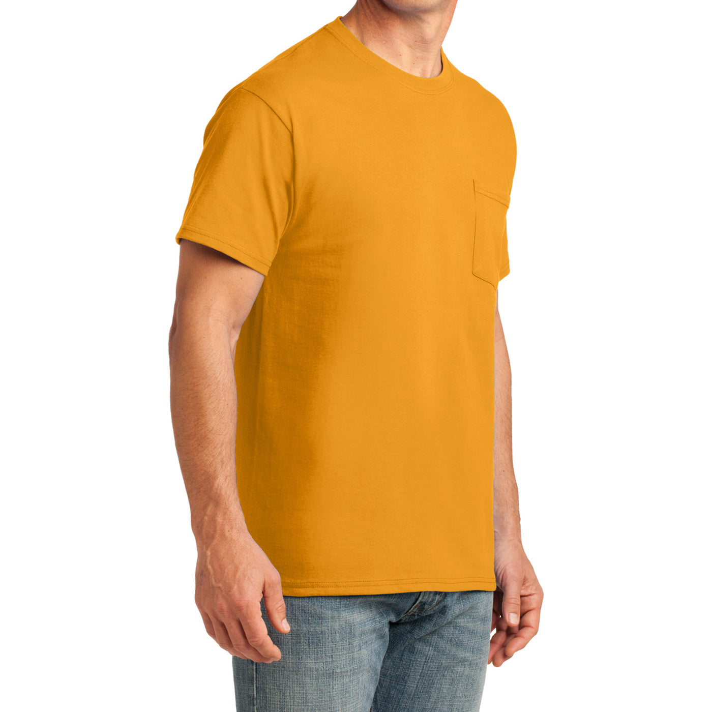 Men's Core Cotton Pocket Tee - Gold - Side