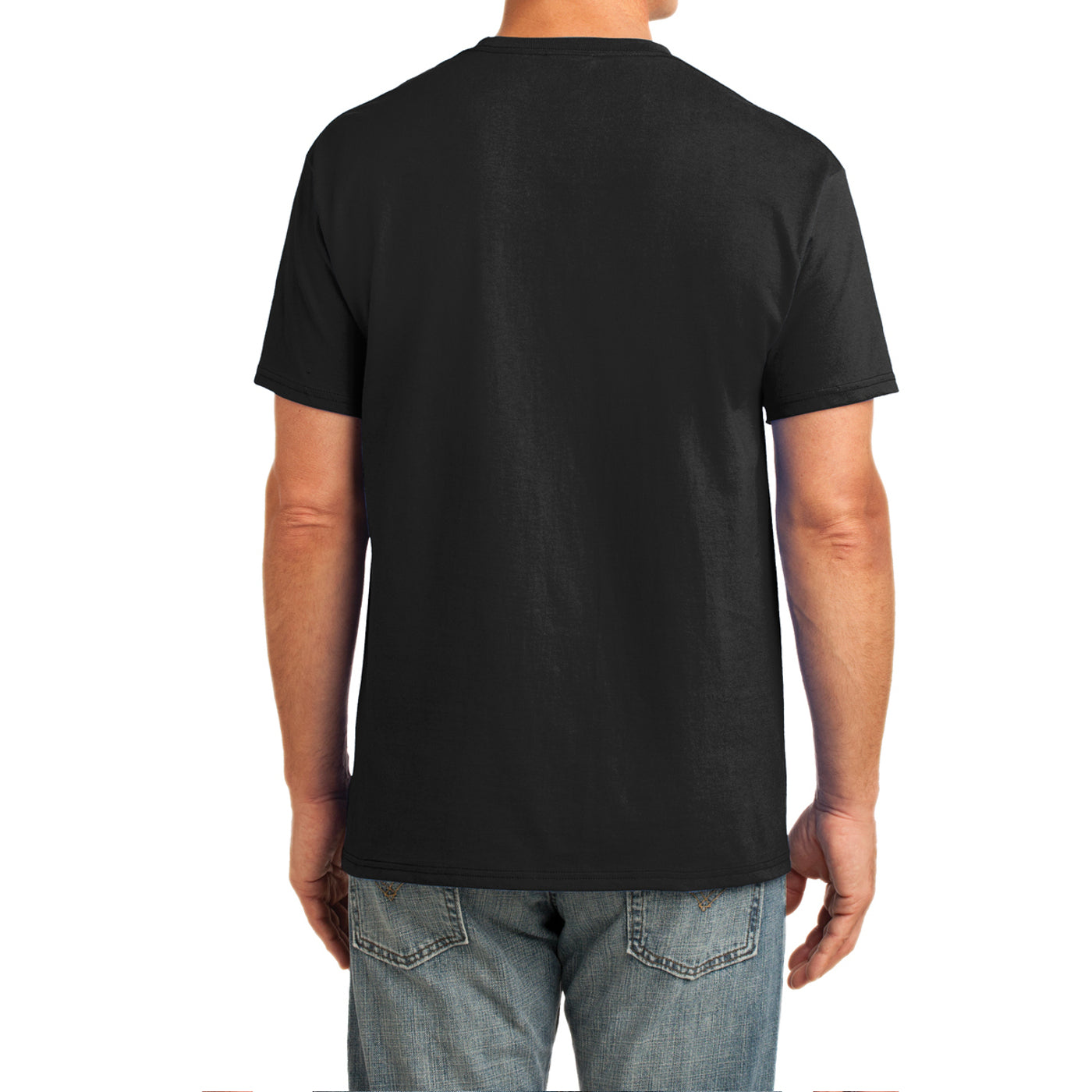 Men's Core Cotton Pocket Tee - Jet Black - Back