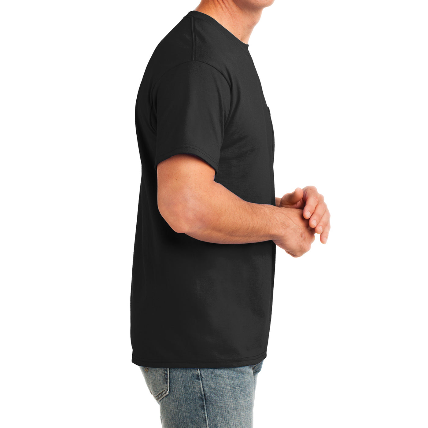 Men's Core Cotton Pocket Tee - Jet Black - Side