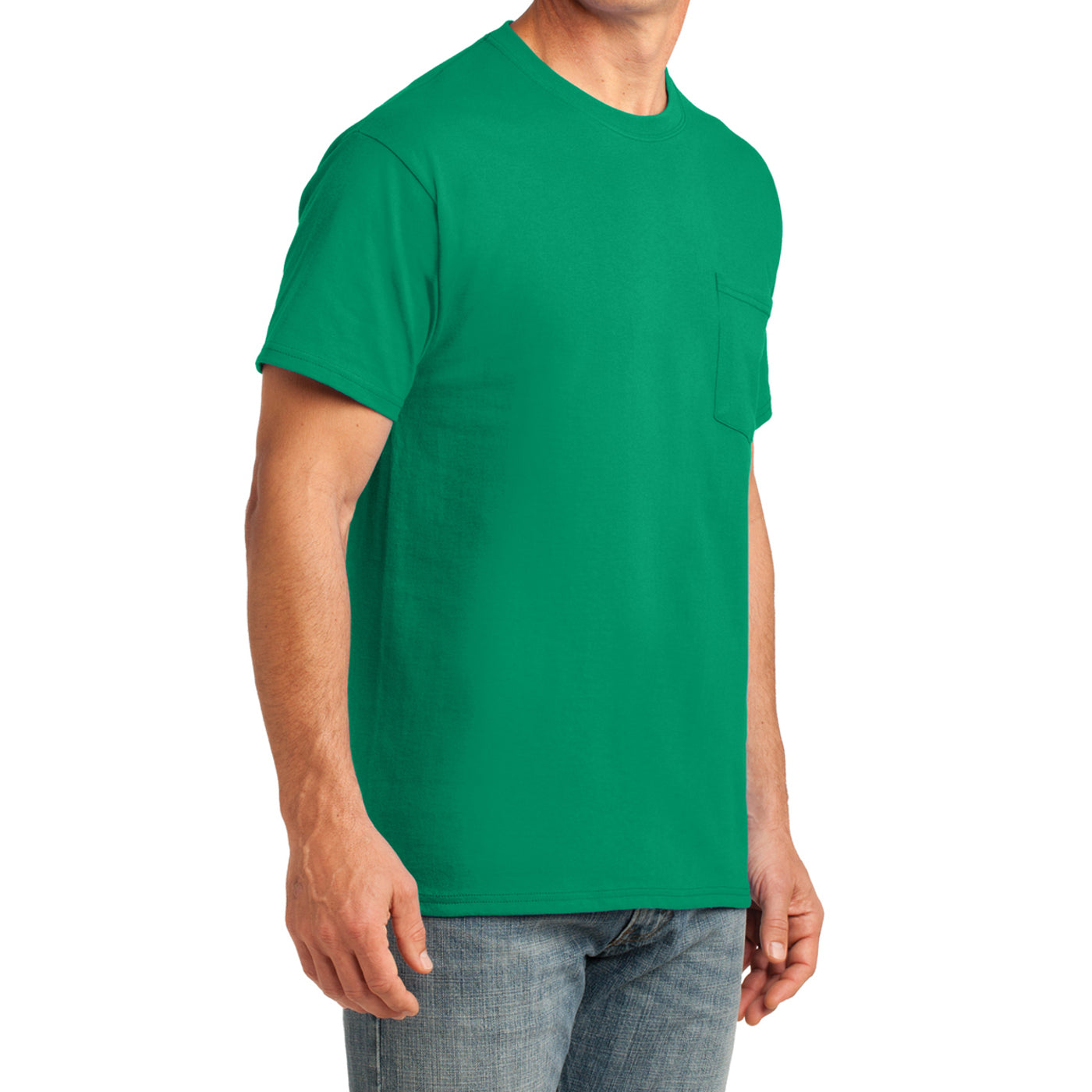 Men's Core Cotton Pocket Tee - Kelly - Side