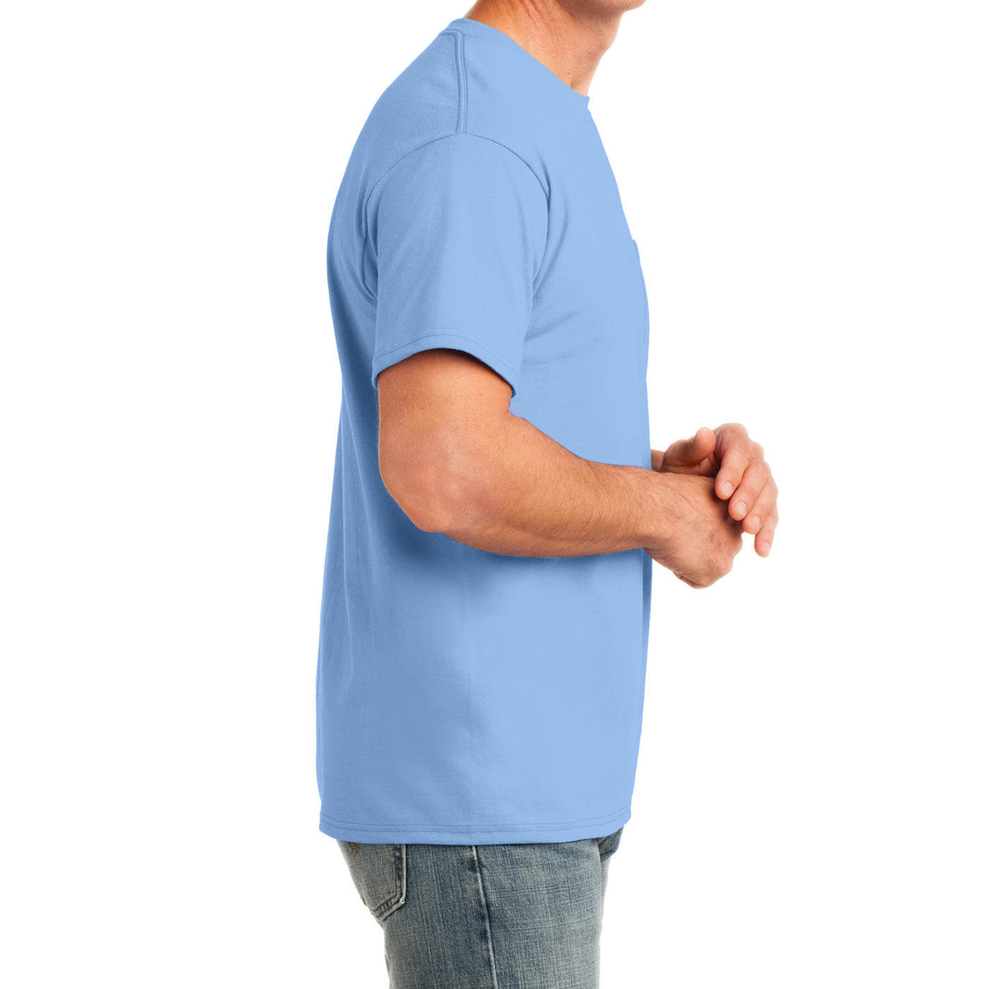 Men's Core Cotton Pocket Tee - Light Blue - Side