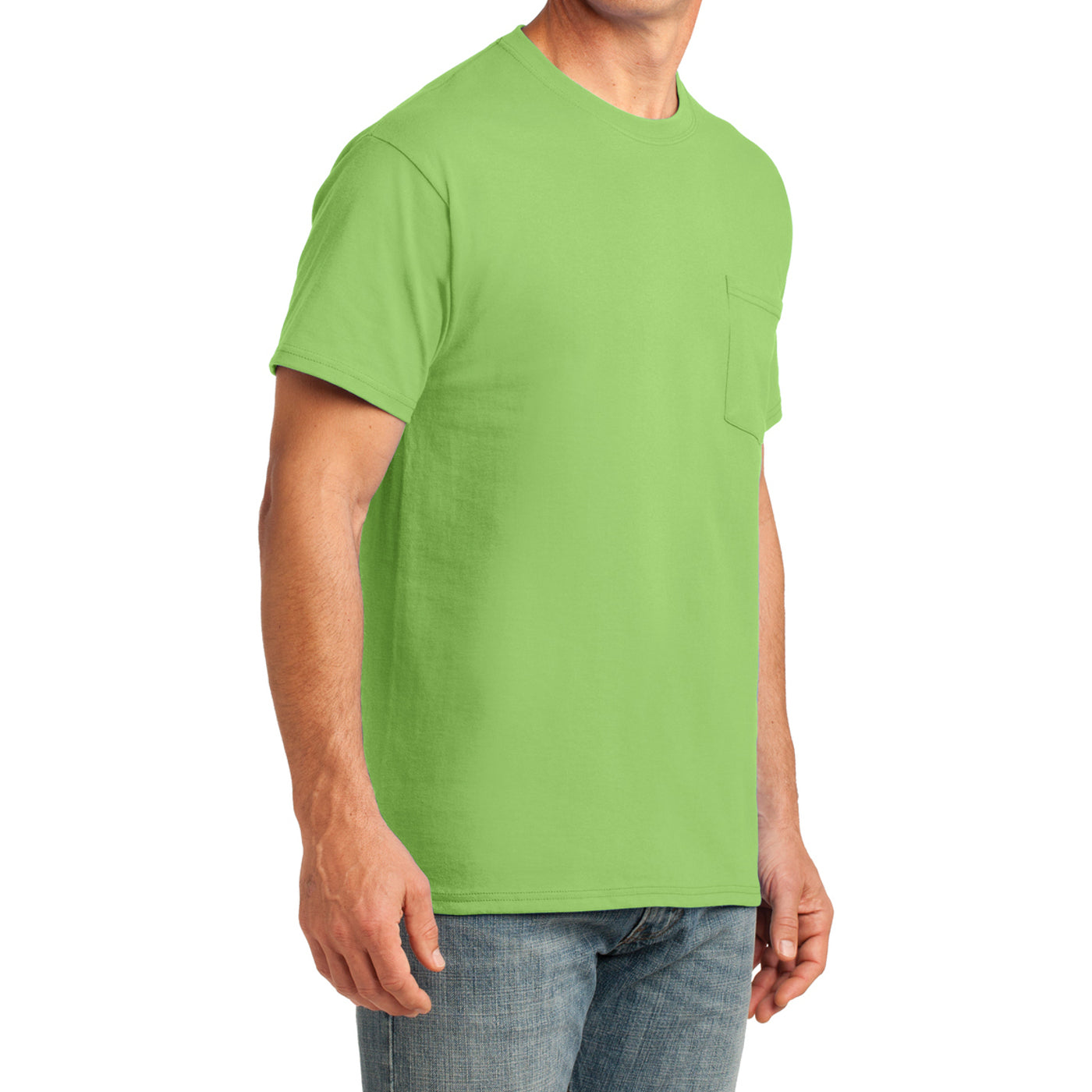 Men's Core Cotton Pocket Tee - Lime - Side