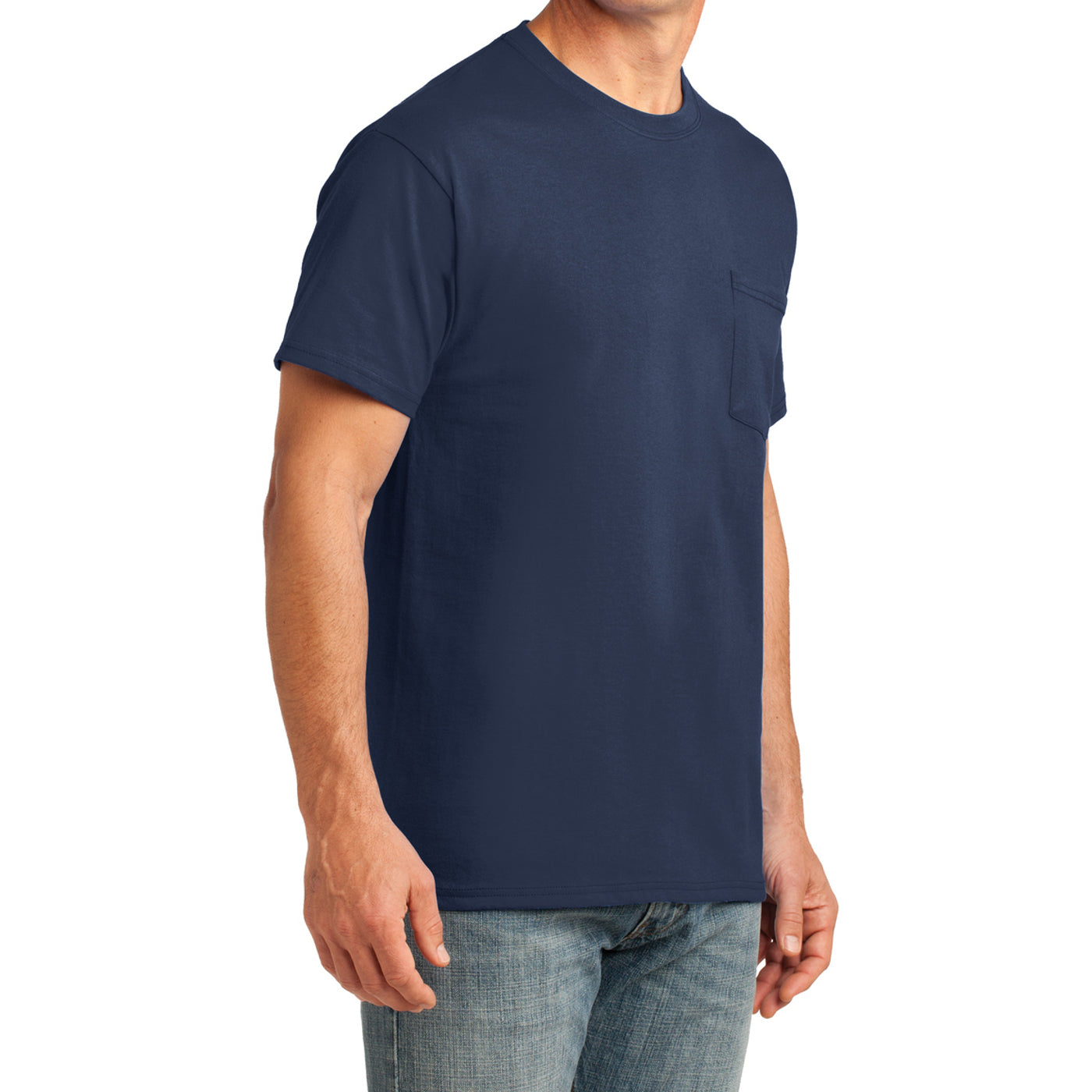 Men's Core Cotton Pocket Tee - Navy - Side