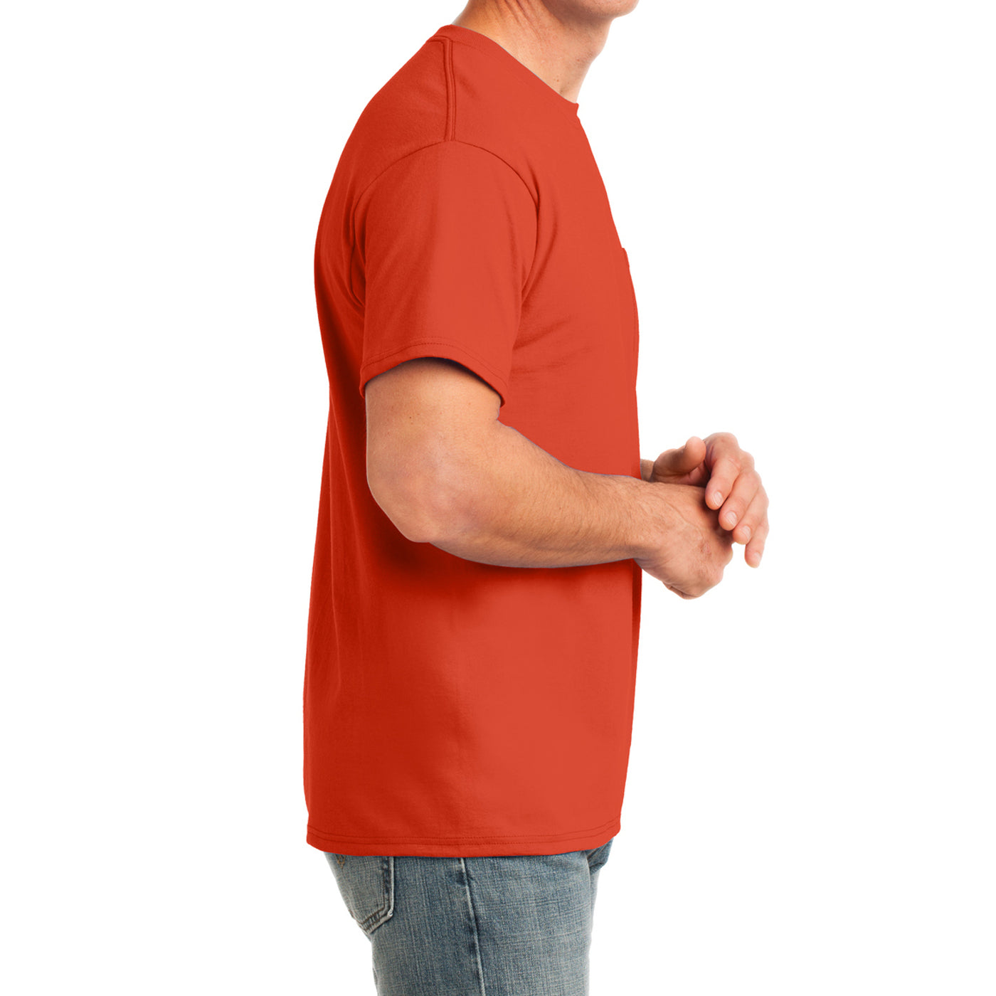 Men's Core Cotton Pocket Tee - Orange - Side