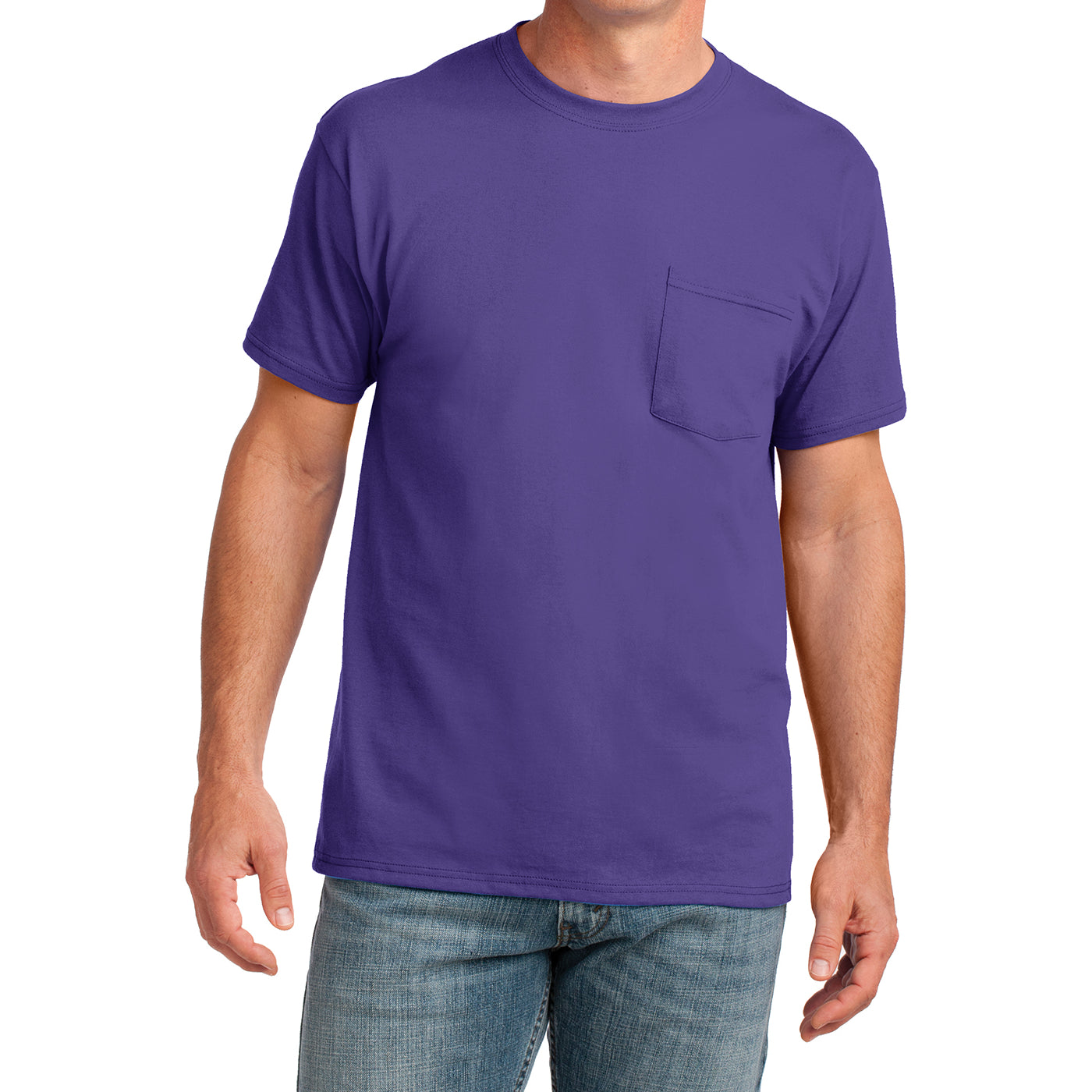 Men's Core Cotton Pocket Tee - Purple - Front