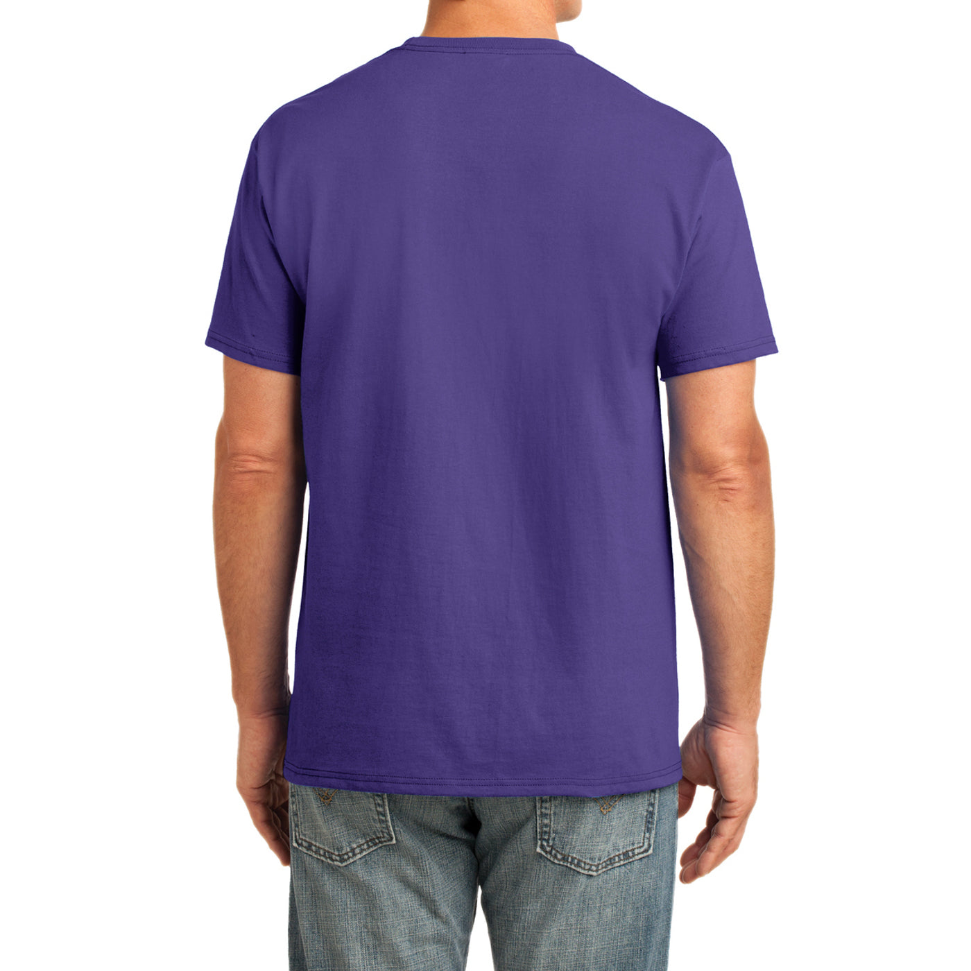 Men's Core Cotton Pocket Tee - Purple - Back
