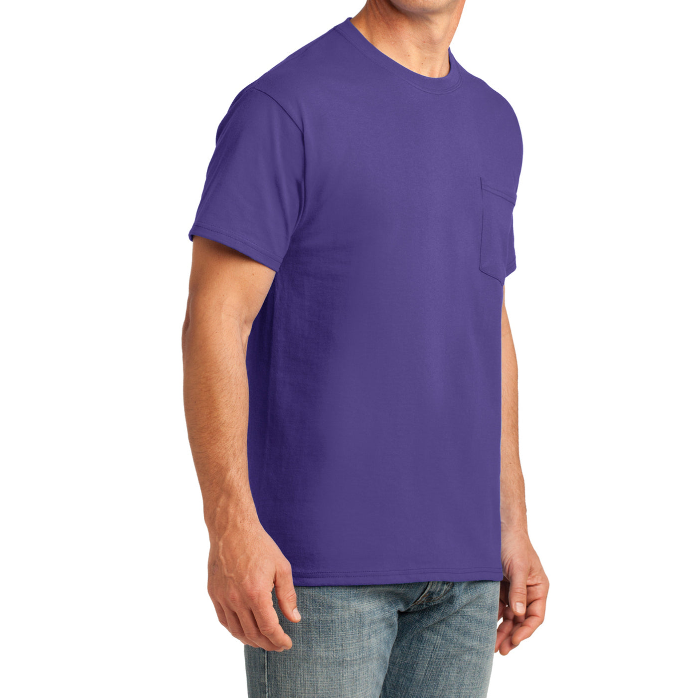Men's Core Cotton Pocket Tee - Purple - Side