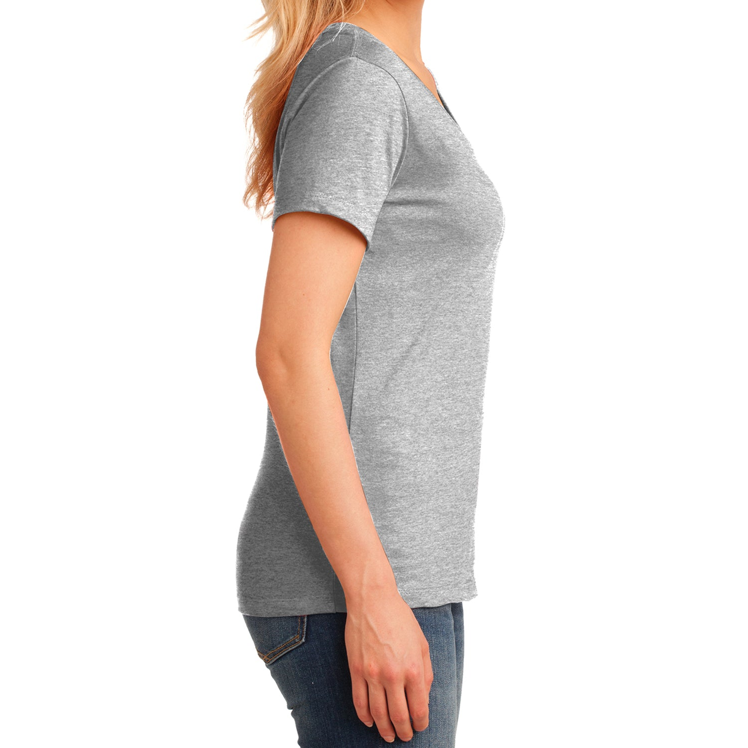 Women's Core Cotton V-Neck Tee Ash - Side