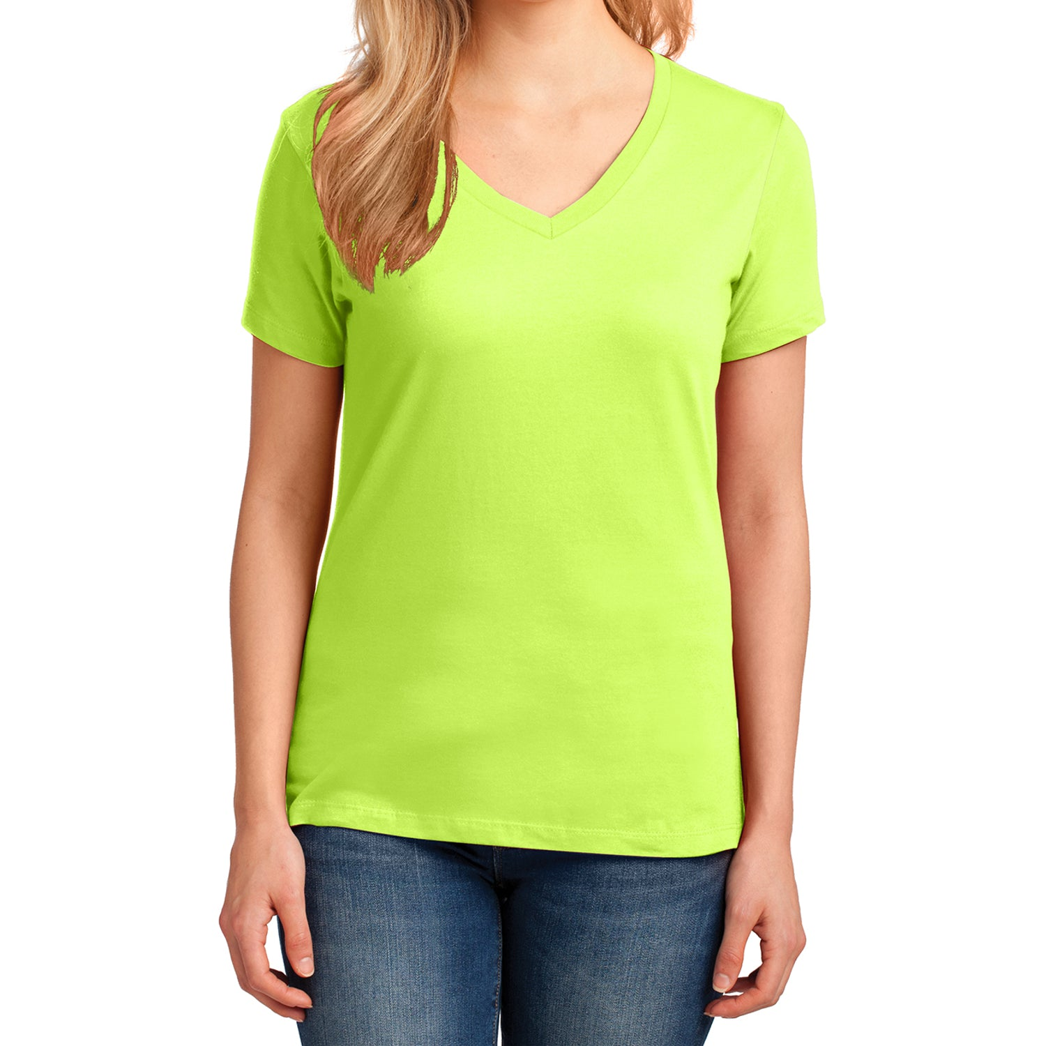 Women's Core Cotton V-Neck Tee - Neon Yellow - Front