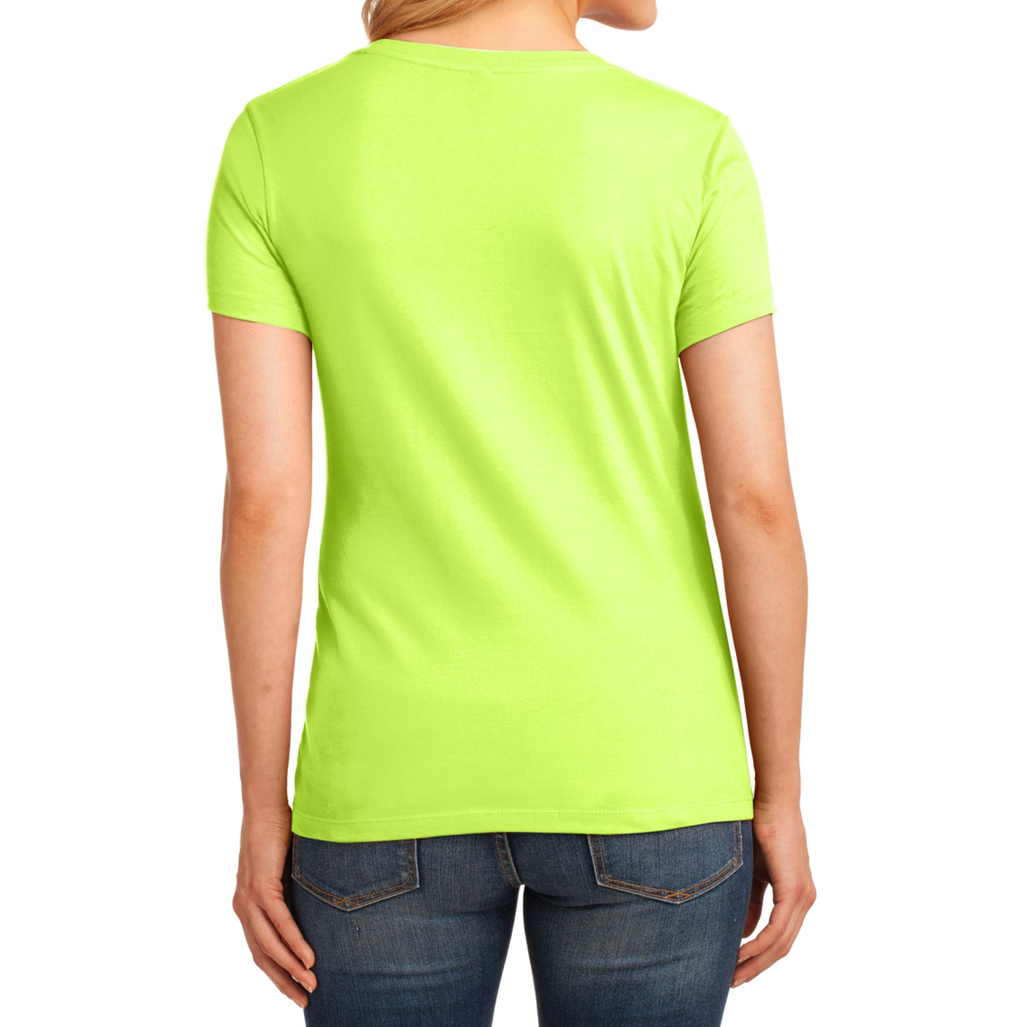 Women's Core Cotton V-Neck Tee - Neon Yellow - Back