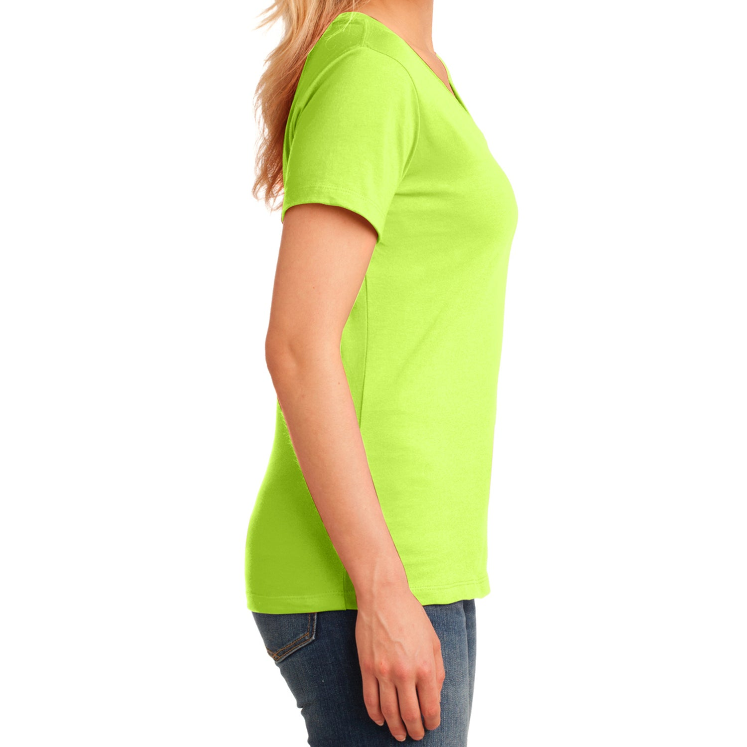 Women's Core Cotton V-Neck Tee - Neon Yellow - Side