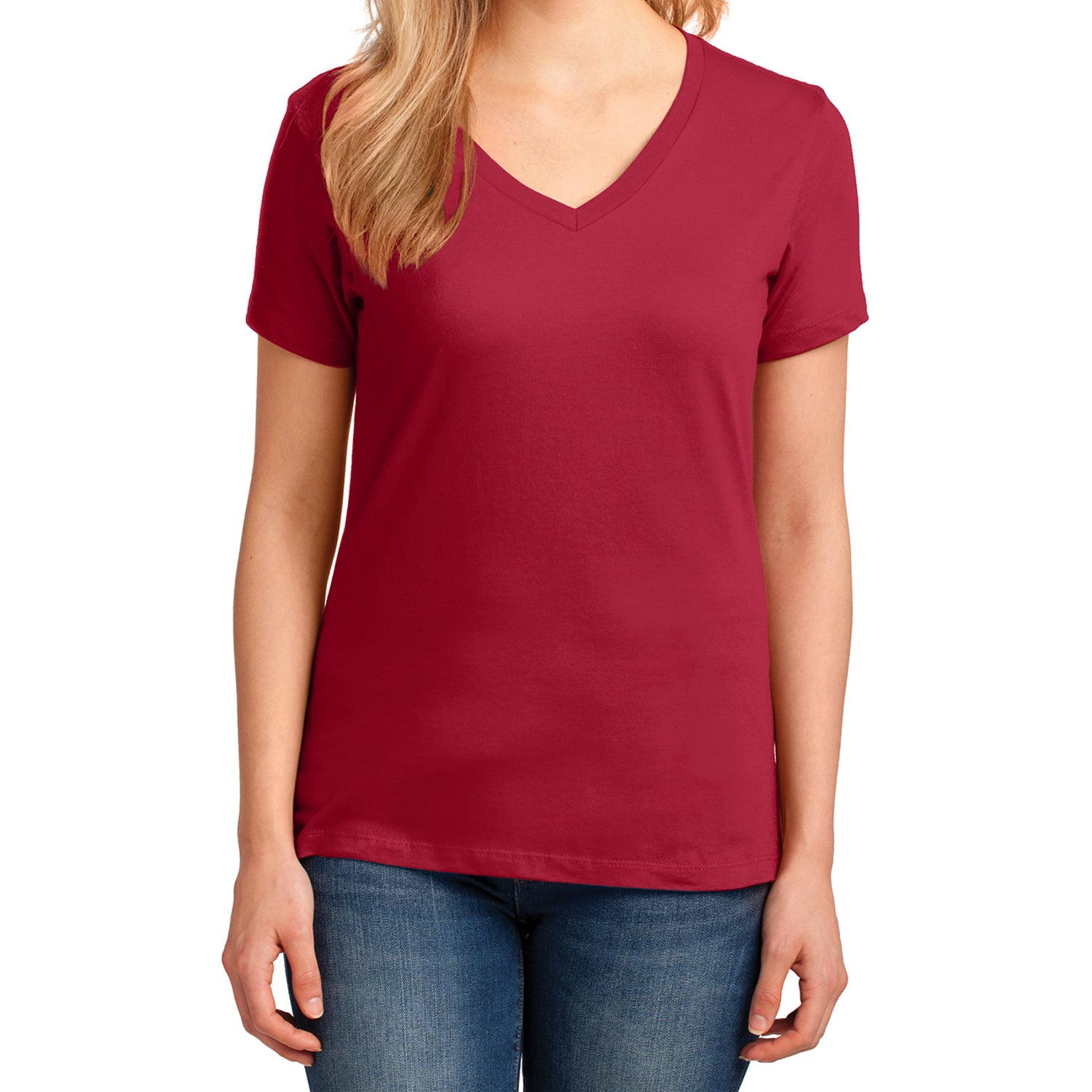 Women's Core Cotton V-Neck Tee - Red - Front