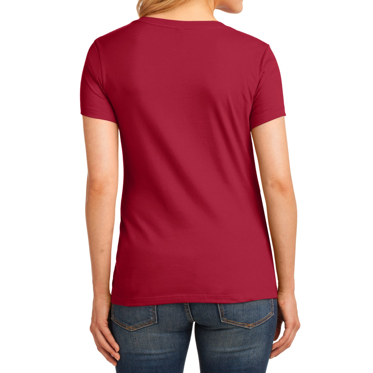 Women's Core Cotton V-Neck Tee - Red - Back