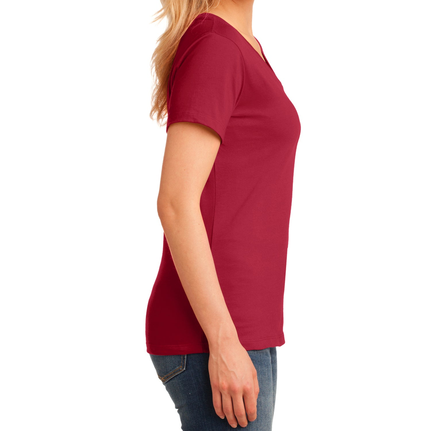 Women's Core Cotton V-Neck Tee - Red - Side
