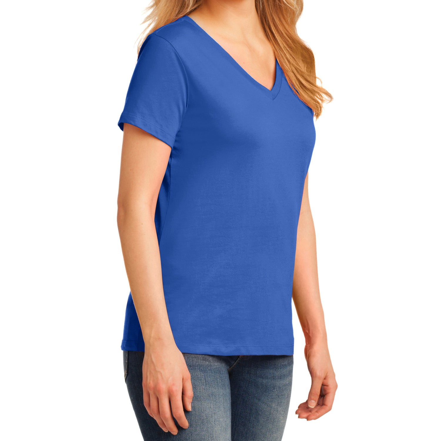 Women's Core Cotton V-Neck Tee - Royal - Side