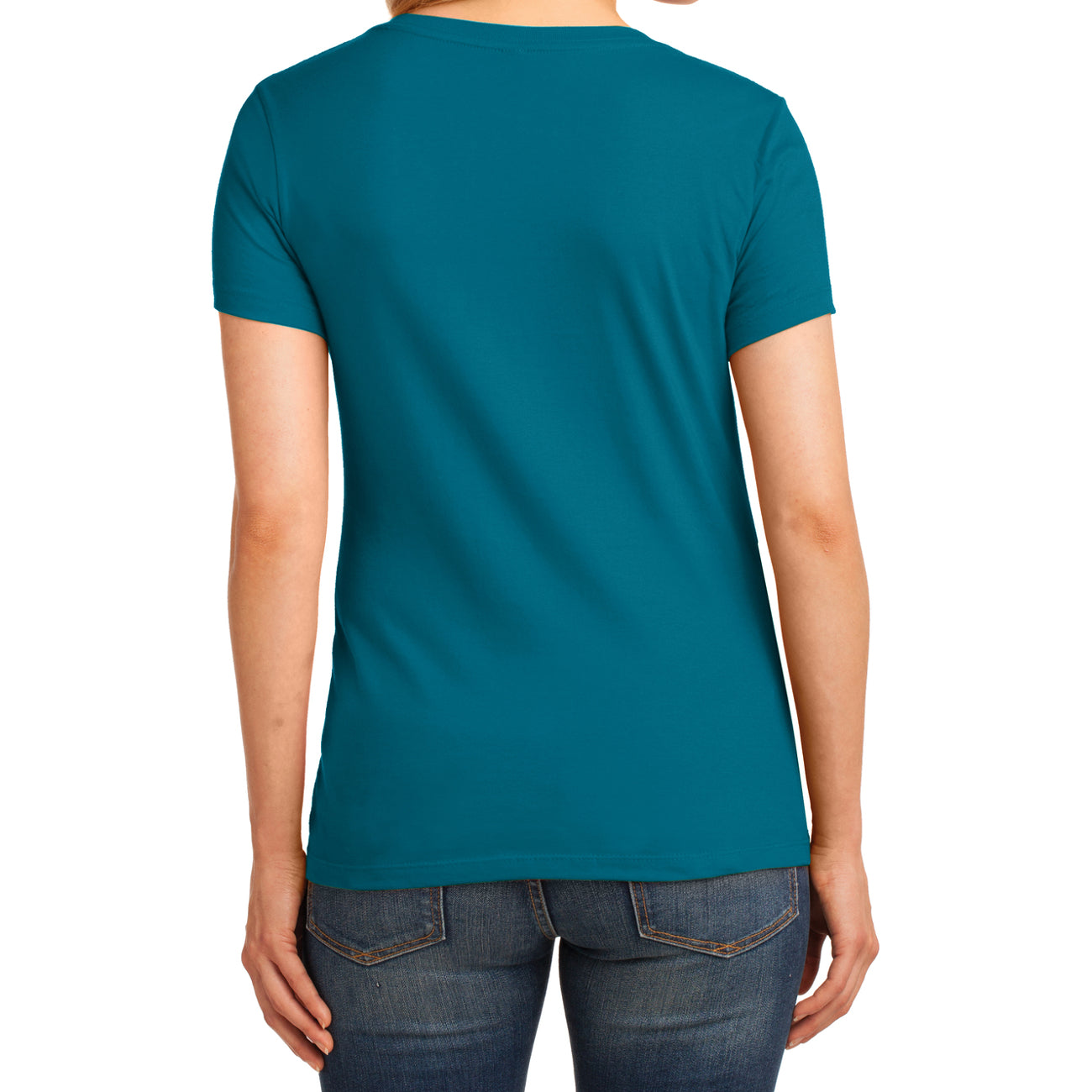 Women's Core Cotton V-Neck Tee - Teal - Back