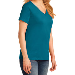 Women's Core Cotton V-Neck Tee - Teal - Side