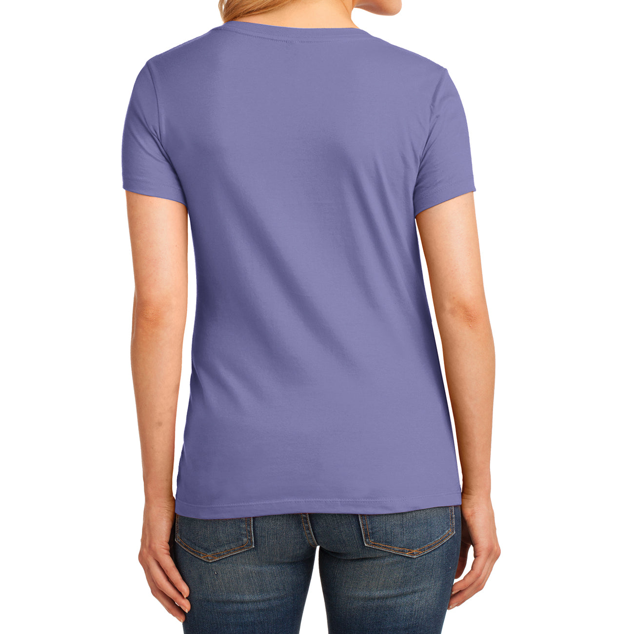Women's Core Cotton V-Neck Tee - Violet - Back