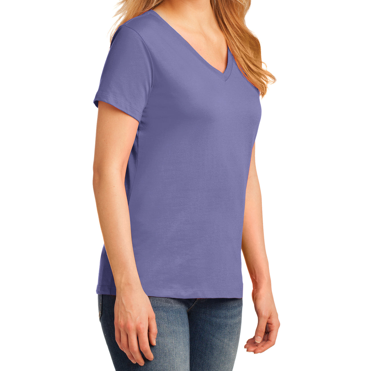 Women's Core Cotton V-Neck Tee - Violet - Side
