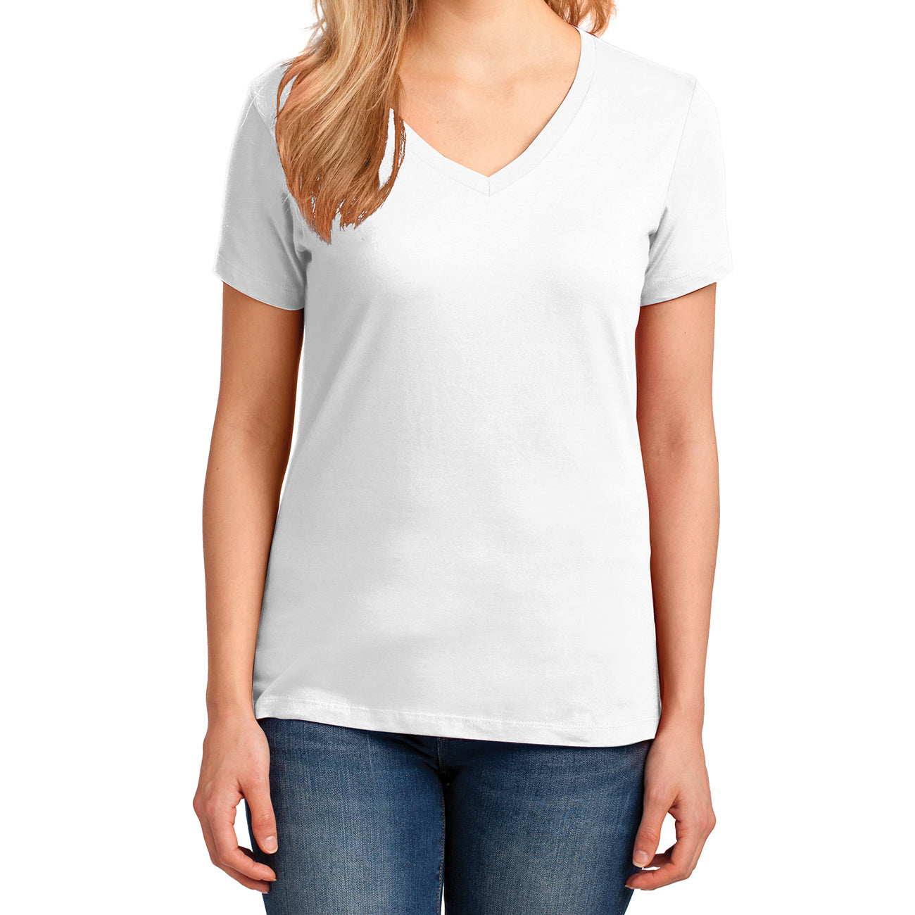 Women's Core Cotton V-Neck Tee - White - Front