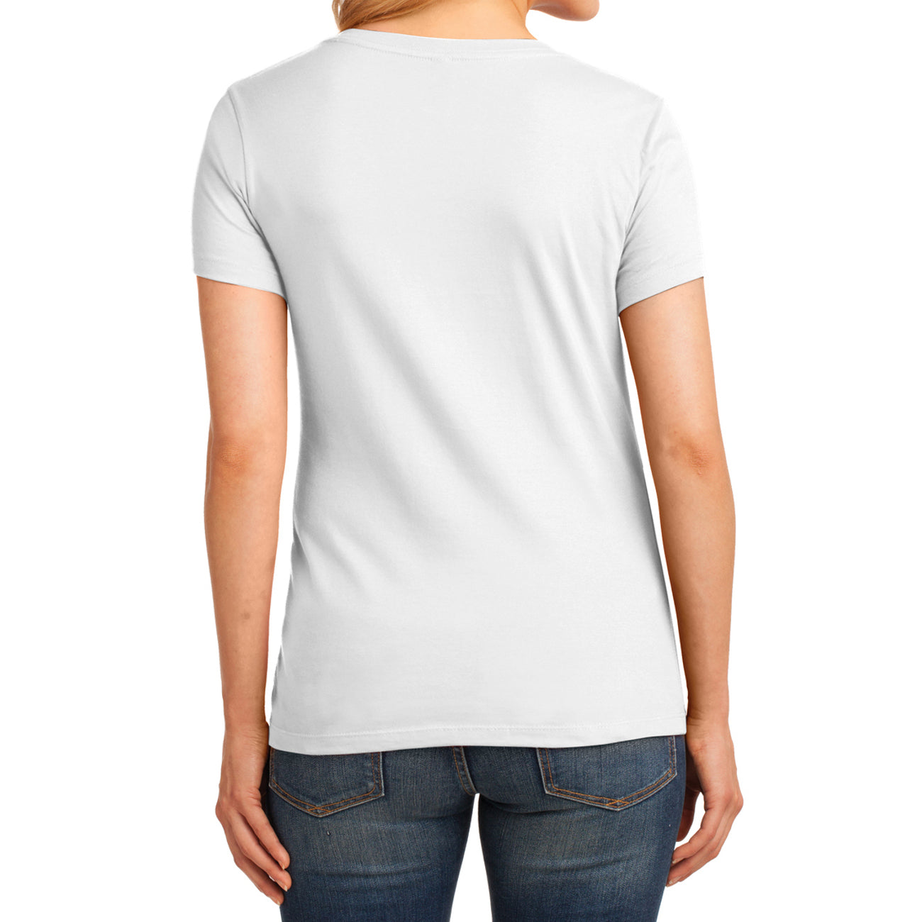 Women's Core Cotton V-Neck Tee - White - Back