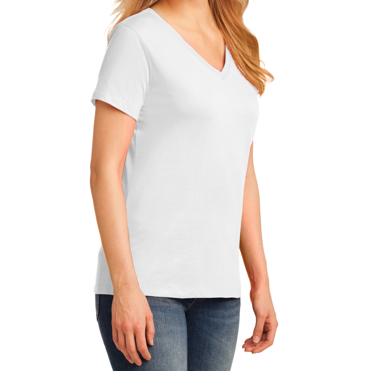 Women's Core Cotton V-Neck Tee - White - Side