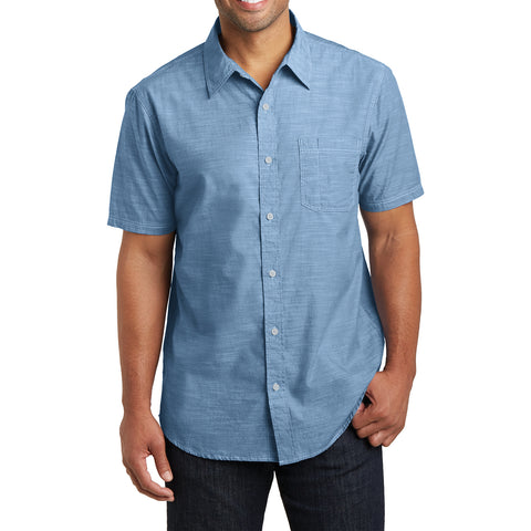 Men's Short Sleeve Washed Woven Shirt - Light Blue - Front