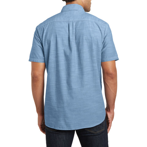 Men's Short Sleeve Washed Woven Shirt - Light Blue - Back