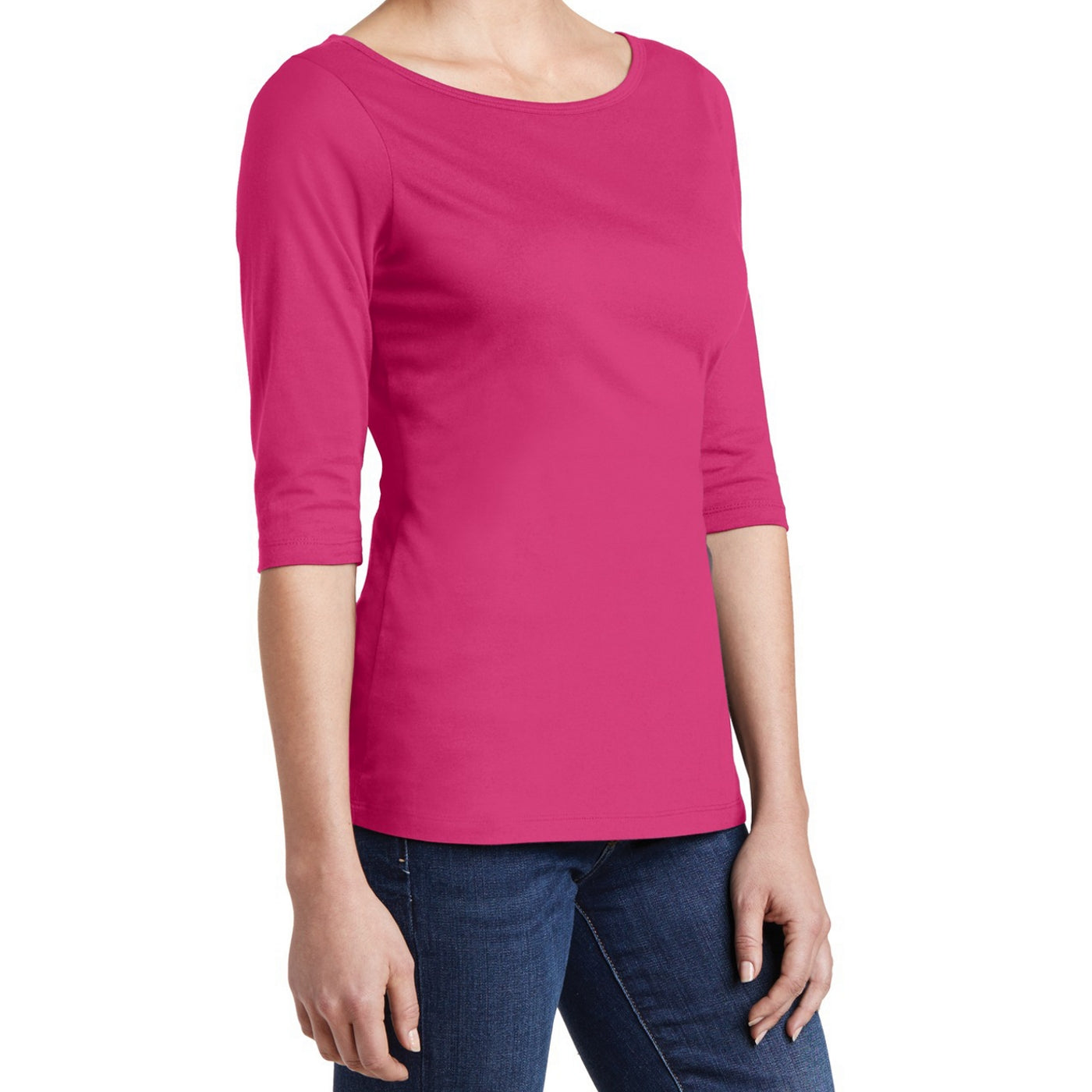 Women's Perfect Weight 3/4-Sleeve Tee - Dark Fuchsia