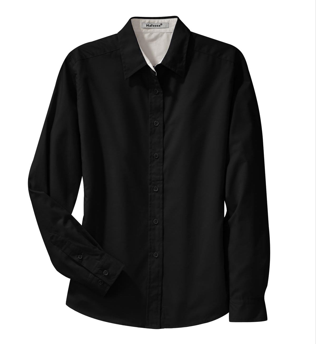 Mafoose Women's Long Sleeve Easy Care Shirt Black/ Light Stone-Front