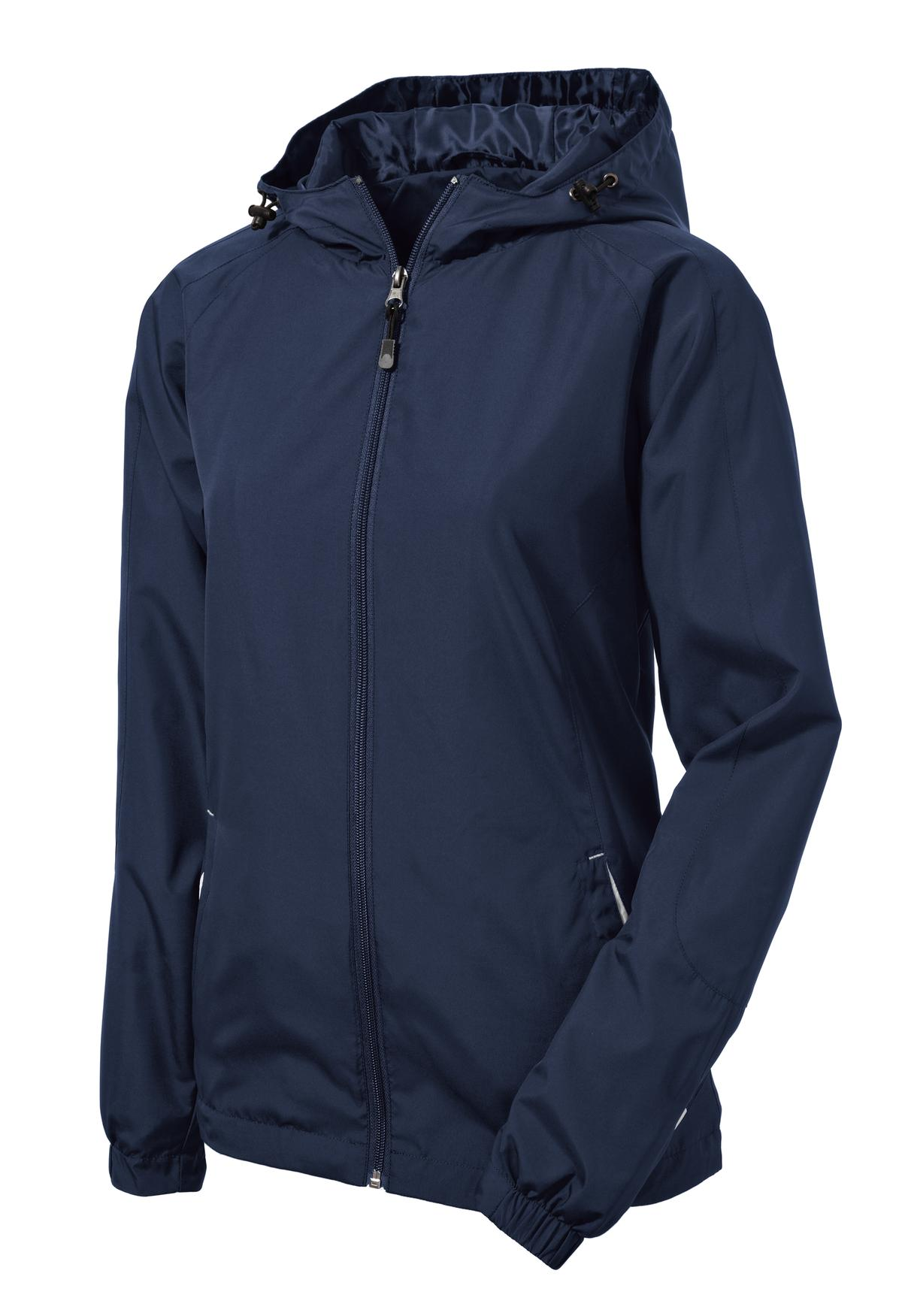Mafoose Women's Colorblock Hooded Raglan Jacket True Navy/White-Front