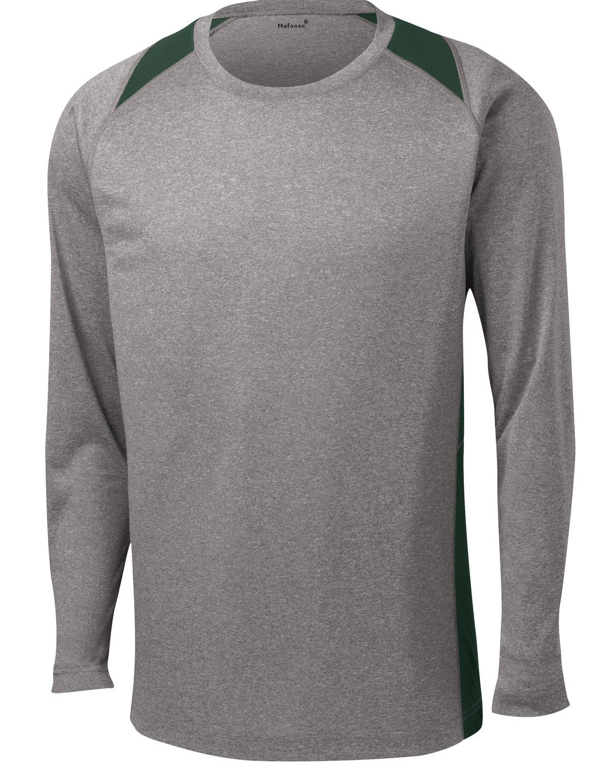 Mafoose Men's Long Sleeve Heather Colorblock Contender Tee Shirt Vintage Heather/ Forest Green-Front