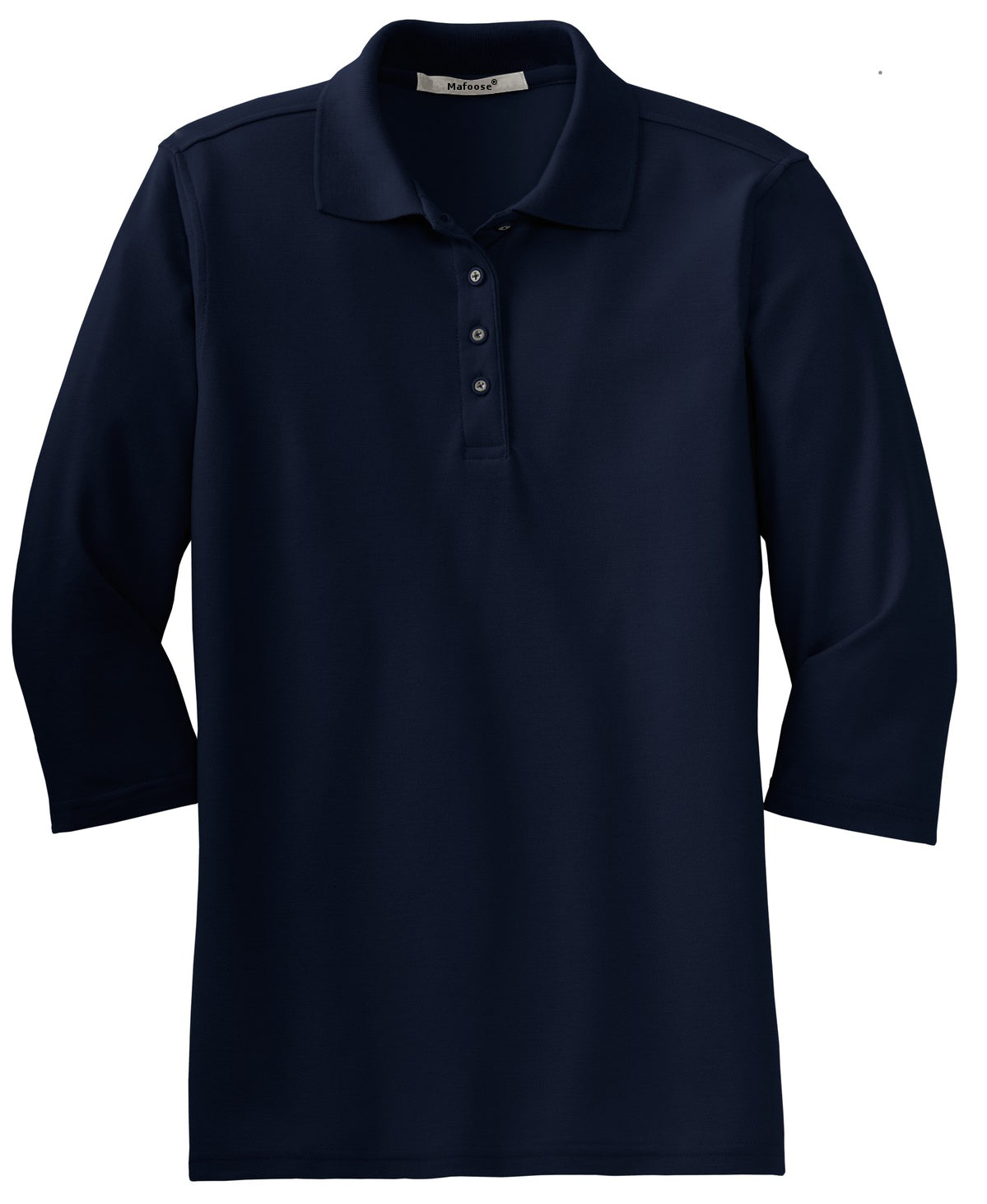 Mafoose Women's Silk Touch ¾ Sleeve Polo Shirt Navy-Front