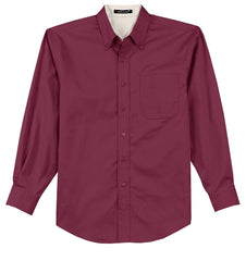 Mafoose Men's Tall Long Sleeve Easy Care Shirt Burgundy/ Light Stone-Front