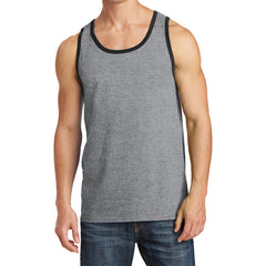 Men's Core Cotton Tank Top - Athletic Heather/ Jet Black - Front