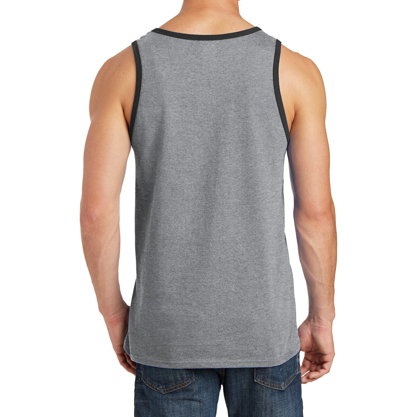Men's Core Cotton Tank Top - Athletic Heather/ Jet Black - Back